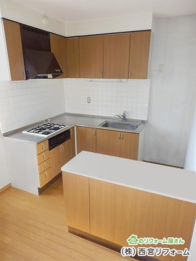 以前の L 型キッチン