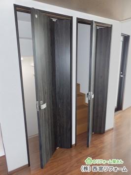 建具で仕切り 折れ戸の採用