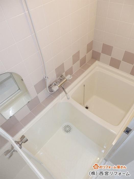 浴室再生塗装 水栓金具の取り替え
