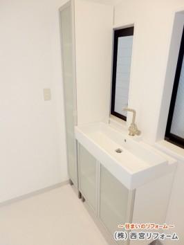 廊下をなくし広く間取り変更した洗面所