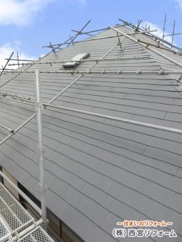 屋根足場の設置  屋根のシリコン塗装