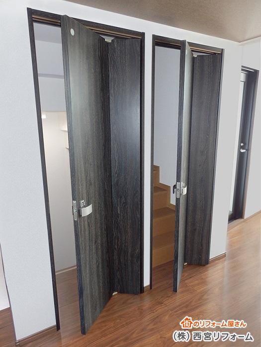 建具で間仕切り 折れ戸の採用