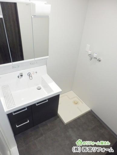 洗面台の取替え、洗濯水栓、洗濯パンの移設