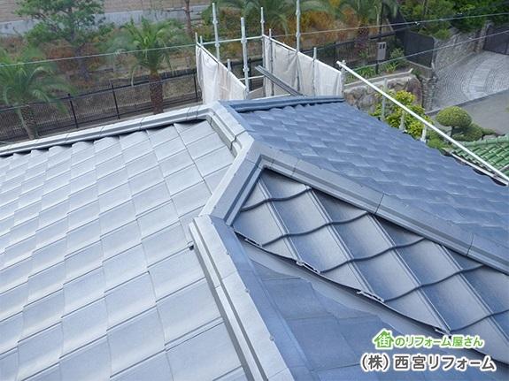屋根の瓦の葺替え ケイミューのルーガ