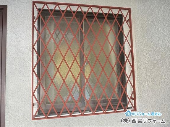 窓まわりの面格子の塗装