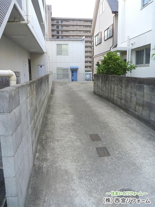 以前の通路、ブロック塀