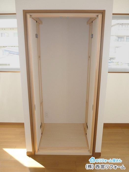 襖戸が収納内部に格納完了