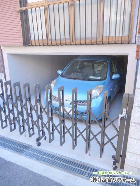 伸縮門扉の外構工事