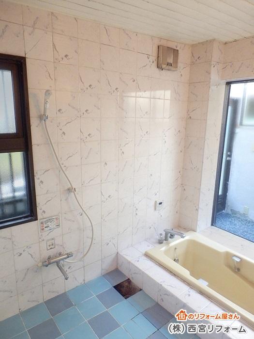 以前のタイル貼りの在来浴室